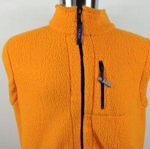 LL Bean Kids Vest Jacket Yellow Fleece Full Zip